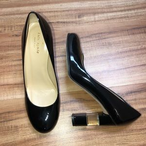 kate spade black patent leather acrylic heels 8.5